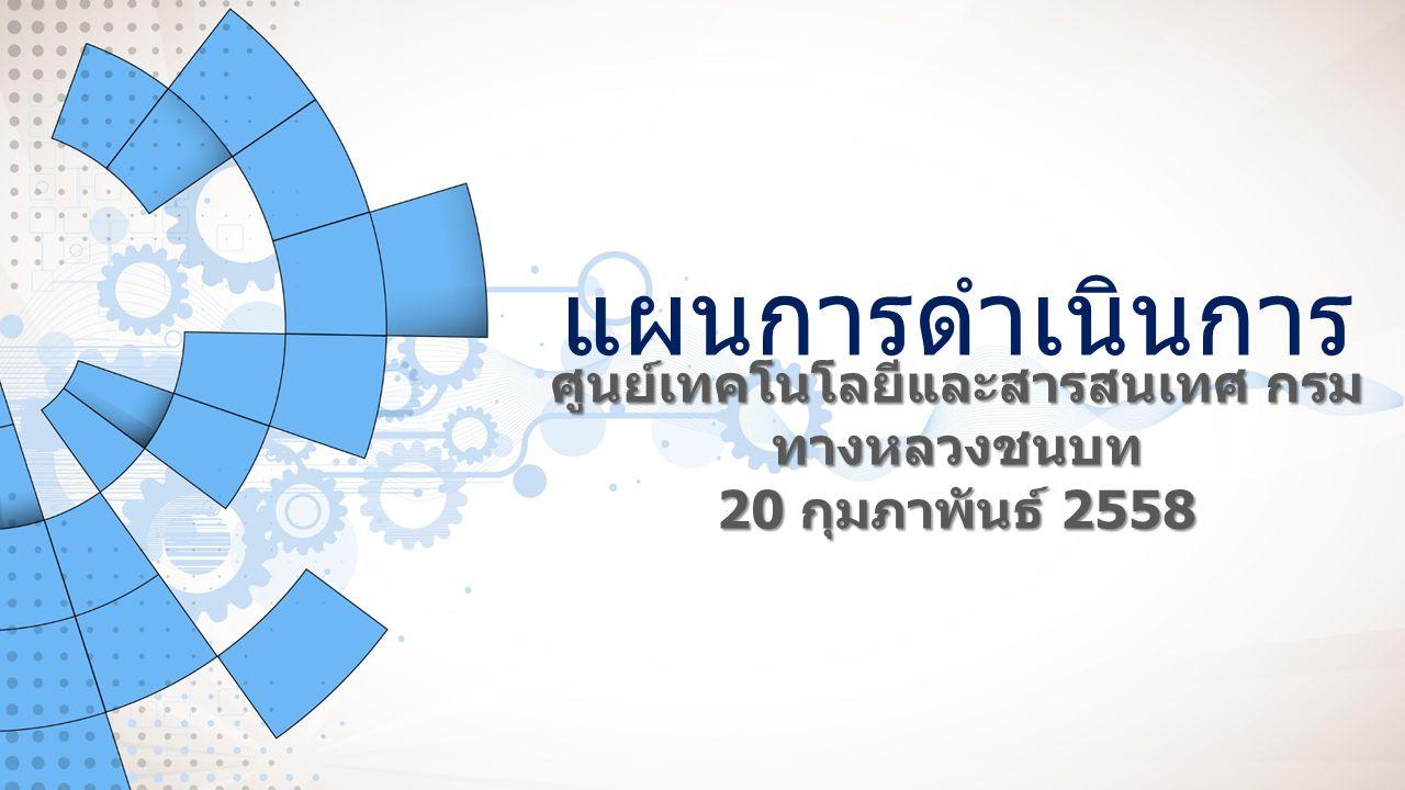 Information and Technology Center http://itc.drr.go.th แผนแม่บทด้านเทคโนโลยีสารสนเทศและ การสื่อสาร (ICT) ของกรมทางหลวงชนบท 2 งบประมาณรายจ่ายประจำปี 2559 การบูรณาการ ข้อมูล (Data Warehouse) การปรับปรุง ข้อมูล ภูมิสารสนเทศ (GIS) การปรับปรุง ระบบ จัดซื้อ จัดจ้าง แผนการ ดำเนินการ ศูนย์เทคโนโลยีและ สารสนเทศ 1 2 34 5