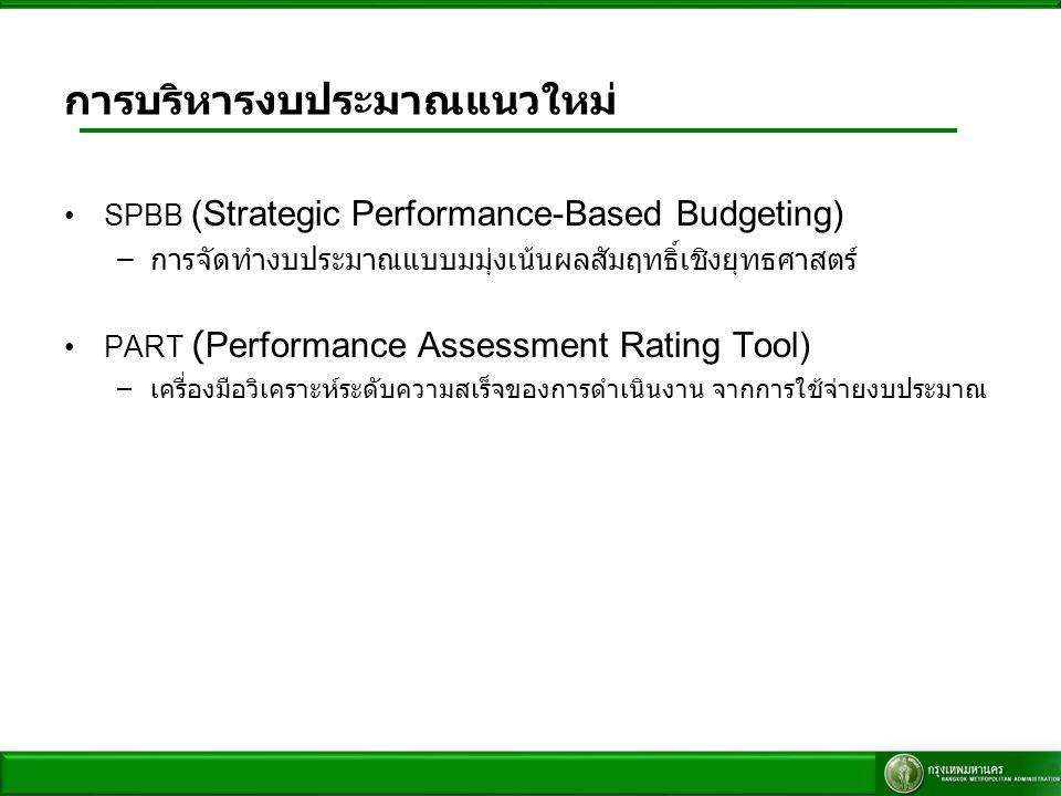 การบริหารงบประมาณแนวใหม่ SPBB (Strategic Performance-Based Budgeting) –การจัดทำงบประมาณแบบมมุ่งเน้นผลสัมฤทธิ์เชิงยุทธศาสตร์ PART (Performance Assessme