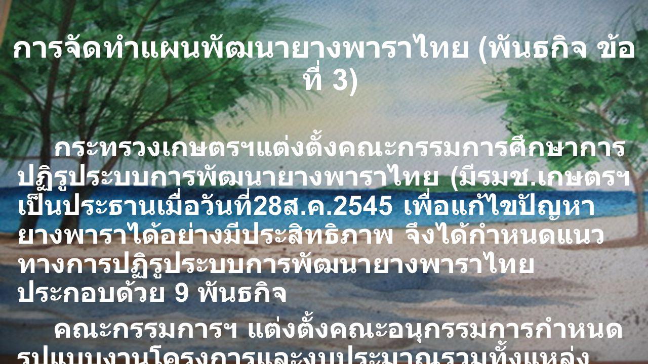 การจัดทำแผนพัฒนายางพาราไทย ( พันธกิจ ข้อ ที่ 3) กระทรวงเกษตรฯแต่งตั้งคณะกรรมการศึกษาการ ปฏิรูประบบการพัฒนายางพาราไทย ( มีรมช. เกษตรฯ เป็นประธานเมื่อวั