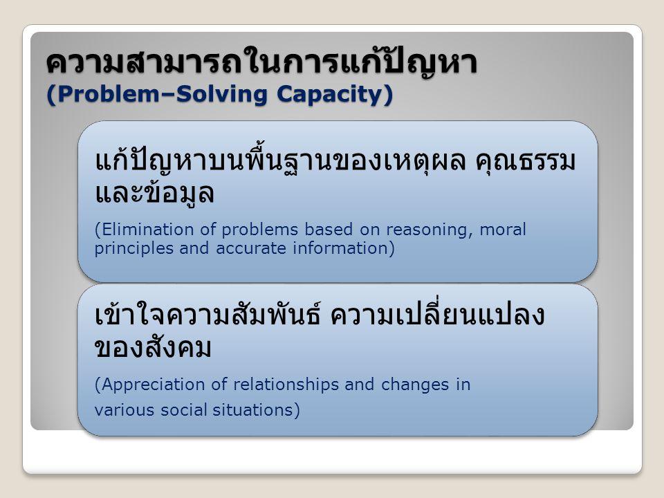ความสามารถในการแก้ปัญหา (Problem–Solving Capacity)