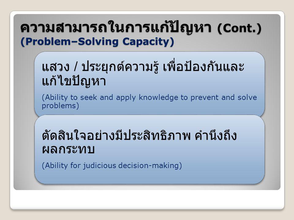 ความสามารถในการแก้ปัญหา (Cont.) (Problem–Solving Capacity)
