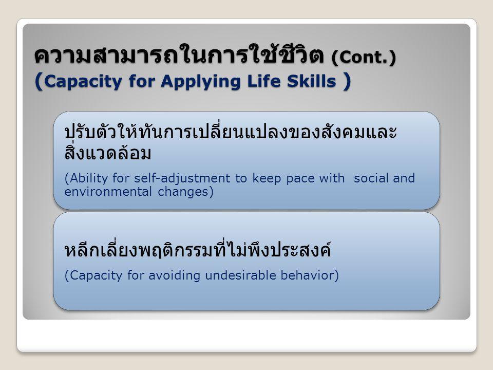 ความสามารถในการใช้ชีวิต (Cont.) ( Capacity for Applying Life Skills )
