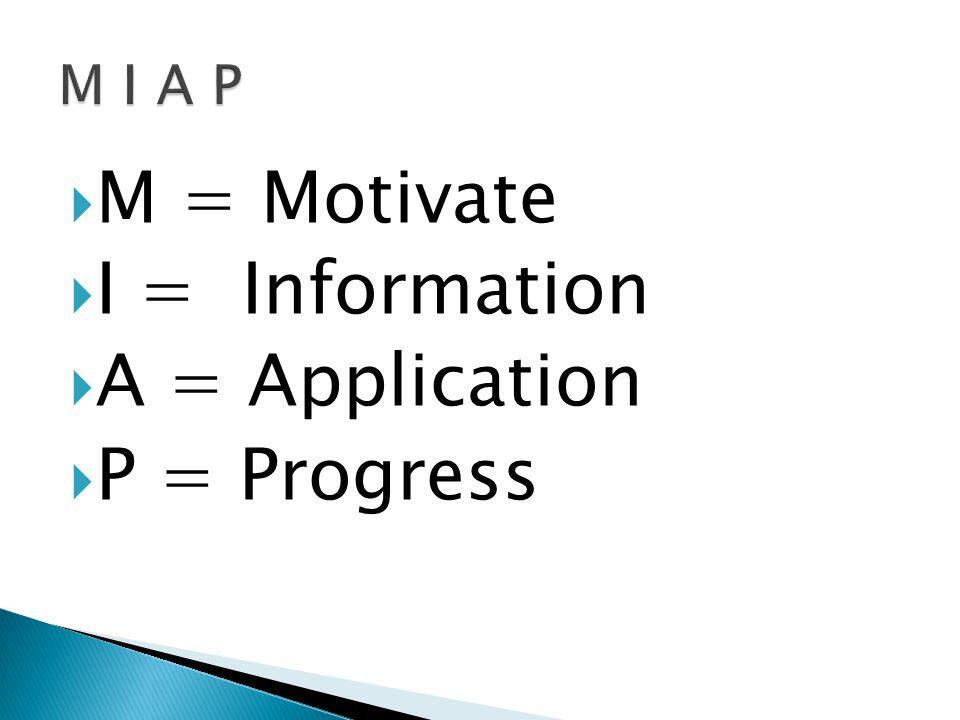  M = Motivate  I = Information  A = Application  P = Progress