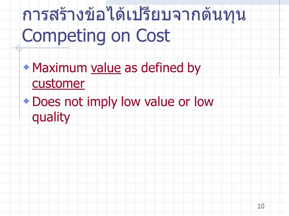 10 การสร้างข้อได้เปรียบจากต้นทุน Competing on Cost  Maximum value as defined by customer  Does not imply low value or low quality