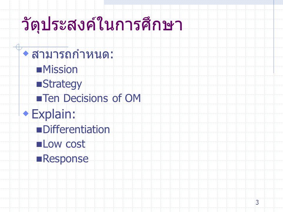 3 วัตุประสงค์ในการศึกษา  สามารถกำหนด: Mission Strategy Ten Decisions of OM  Explain: Differentiation Low cost Response