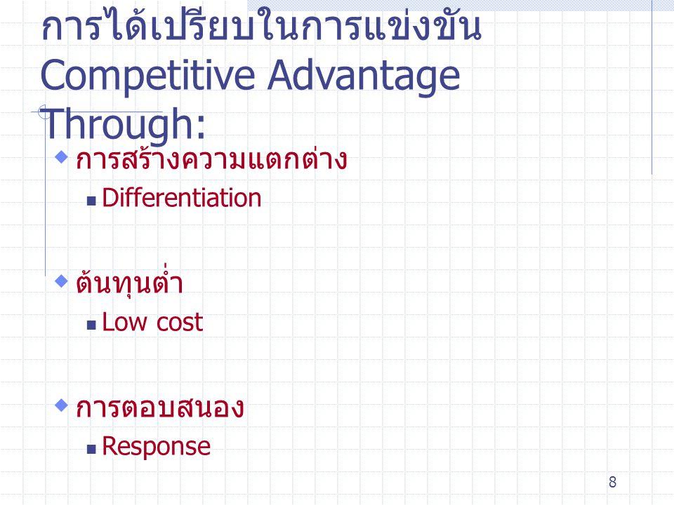 8 การได้เปรียบในการแข่งขัน Competitive Advantage Through:  การสร้างความแตกต่าง Differentiation  ต้นทุนต่ำ Low cost  การตอบสนอง Response
