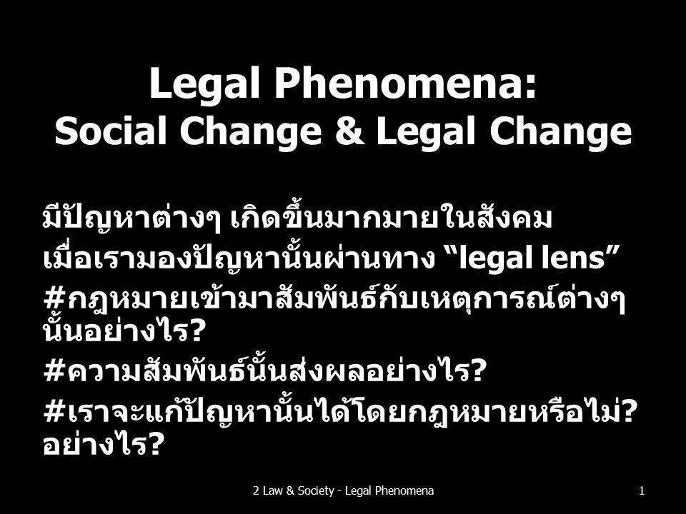 Legal Phenomena: Social Change & Legal Change มีปัญหาต่างๆ เกิดขึ้นมากมายในสังคม เมื่อเรามองปัญหานั้นผ่านทาง legal lens #กฎหมายเข้ามาสัมพันธ์กับเหตุการณ์ต่างๆ นั้นอย่างไร.