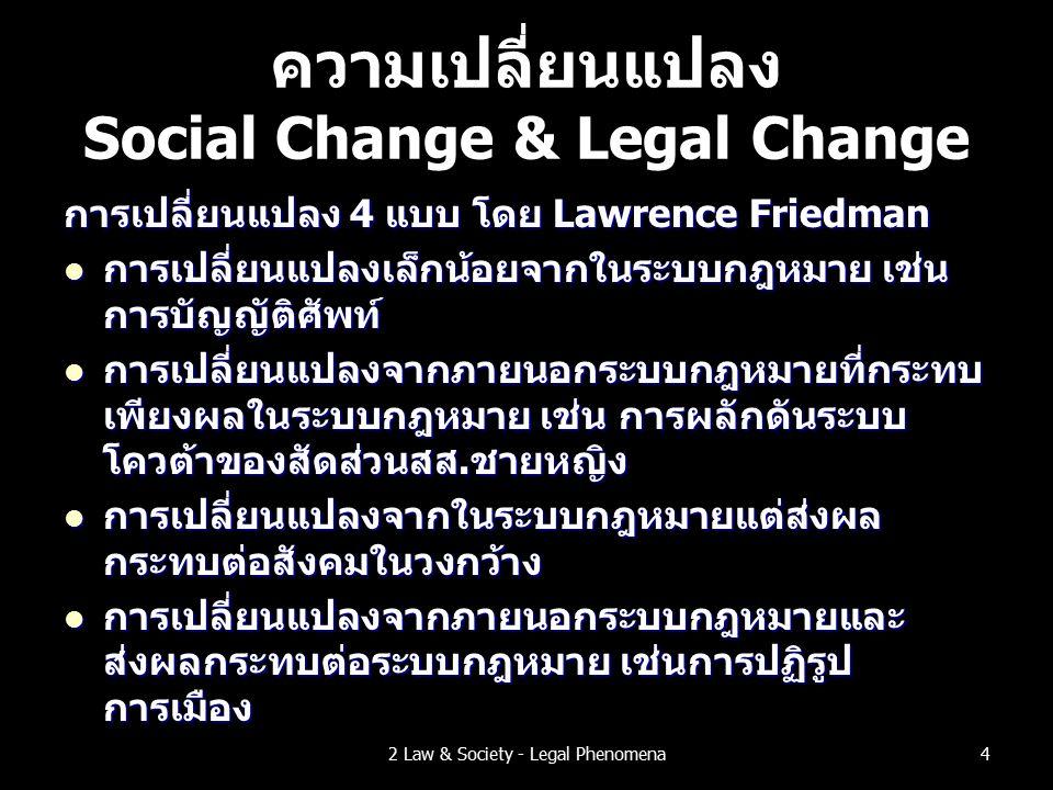 ความเปลี่ยนแปลง Social Change & Legal Change การเปลี่ยนแปลง 4 แบบ โดย Lawrence Friedman การเปลี่ยนแปลงเล็กน้อยจากในระบบกฎหมาย เช่น การบัญญัติศัพท์ การเปลี่ยนแปลงเล็กน้อยจากในระบบกฎหมาย เช่น การบัญญัติศัพท์ การเปลี่ยนแปลงจากภายนอกระบบกฎหมายที่กระทบ เพียงผลในระบบกฎหมาย เช่น การผลักดันระบบ โควต้าของสัดส่วนสส.ชายหญิง การเปลี่ยนแปลงจากภายนอกระบบกฎหมายที่กระทบ เพียงผลในระบบกฎหมาย เช่น การผลักดันระบบ โควต้าของสัดส่วนสส.ชายหญิง การเปลี่ยนแปลงจากในระบบกฎหมายแต่ส่งผล กระทบต่อสังคมในวงกว้าง การเปลี่ยนแปลงจากในระบบกฎหมายแต่ส่งผล กระทบต่อสังคมในวงกว้าง การเปลี่ยนแปลงจากภายนอกระบบกฎหมายและ ส่งผลกระทบต่อระบบกฎหมาย เช่นการปฏิรูป การเมือง การเปลี่ยนแปลงจากภายนอกระบบกฎหมายและ ส่งผลกระทบต่อระบบกฎหมาย เช่นการปฏิรูป การเมือง 42 Law & Society - Legal Phenomena