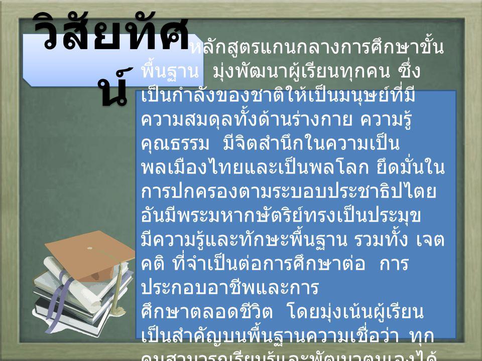วิสัยทัศ น์ หลักสูตรแกนกลางการศึกษาขั้น พื้นฐาน มุ่งพัฒนาผู้เรียนทุกคน ซึ่ง เป็นกำลังของชาติให้เป็นมนุษย์ที่มี ความสมดุลทั้งด้านร่างกาย ความรู้ คุณธรรม มีจิตสำนึกในความเป็น พลเมืองไทยและเป็นพลโลก ยึดมั่นใน การปกครองตามระบอบประชาธิปไตย อันมีพระมหากษัตริย์ทรงเป็นประมุข มีความรู้และทักษะพื้นฐาน รวมทั้ง เจต คติ ที่จำเป็นต่อการศึกษาต่อ การ ประกอบอาชีพและการ ศึกษาตลอดชีวิต โดยมุ่งเน้นผู้เรียน เป็นสำคัญบนพื้นฐานความเชื่อว่า ทุก คนสามารถเรียนรู้และพัฒนาตนเองได้ เต็มตามศักยภาพ