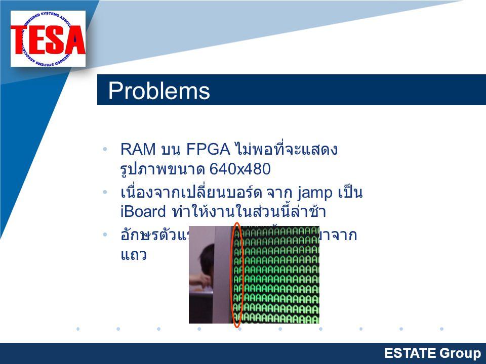 Company LOGO www.company.com แผนงาน ESTATE Group ทำในส่วนของ iBoard - ทำหน้า Web สำหรับรับ input ที่ ต้องการไปแสดงบน จอ LCD - ทำส่วนติดต่อระหว่าง iBoard กับ FPGA หาวิธีการแสดงรูปภาพ