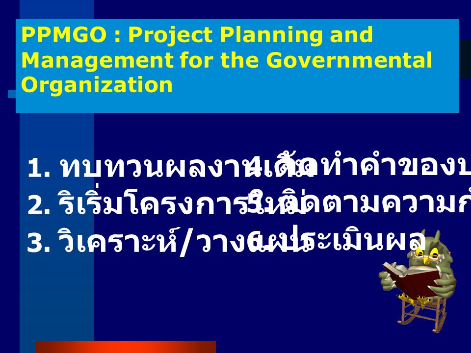 PPMGO : Project Planning and Management for the Governmental Organization 1.