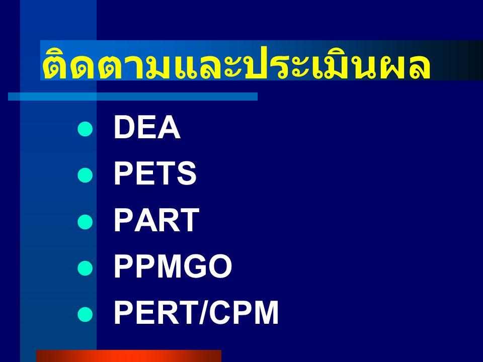 ติดตามและประเมินผล DEA PETS PART PPMGO PERT/CPM