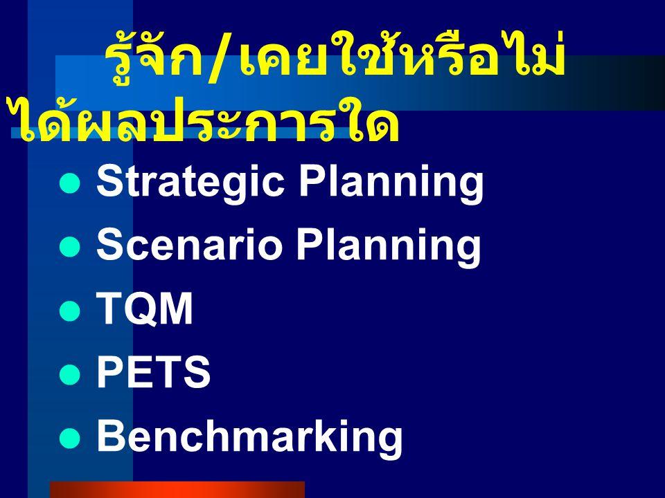 รู้จัก / เคยใช้หรือไม่ ได้ผลประการใด Strategic Planning Scenario Planning TQM PETS Benchmarking