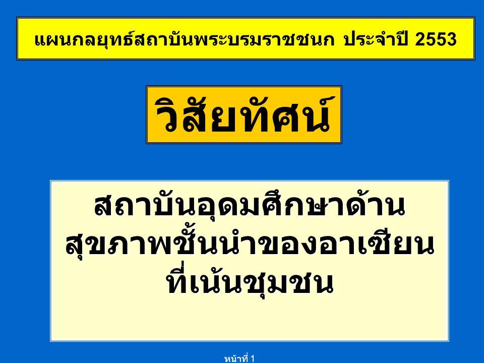 หน้าที่ 1 วิสัยทัศน์ สถาบันอุดมศึกษาด้าน สุขภาพชั้นนำของอาเซียน ที่เน้นชุมชน แผนกลยุทธ์สถาบันพระบรมราชชนก ประจำปี 2553