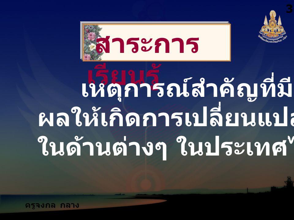 ครูจงกล กลาง ชล สาระการ เรียนรู้ เหตุการณ์สำคัญที่มี ผลให้เกิดการเปลี่ยนแปลง ในด้านต่างๆ ในประเทศไทย 3