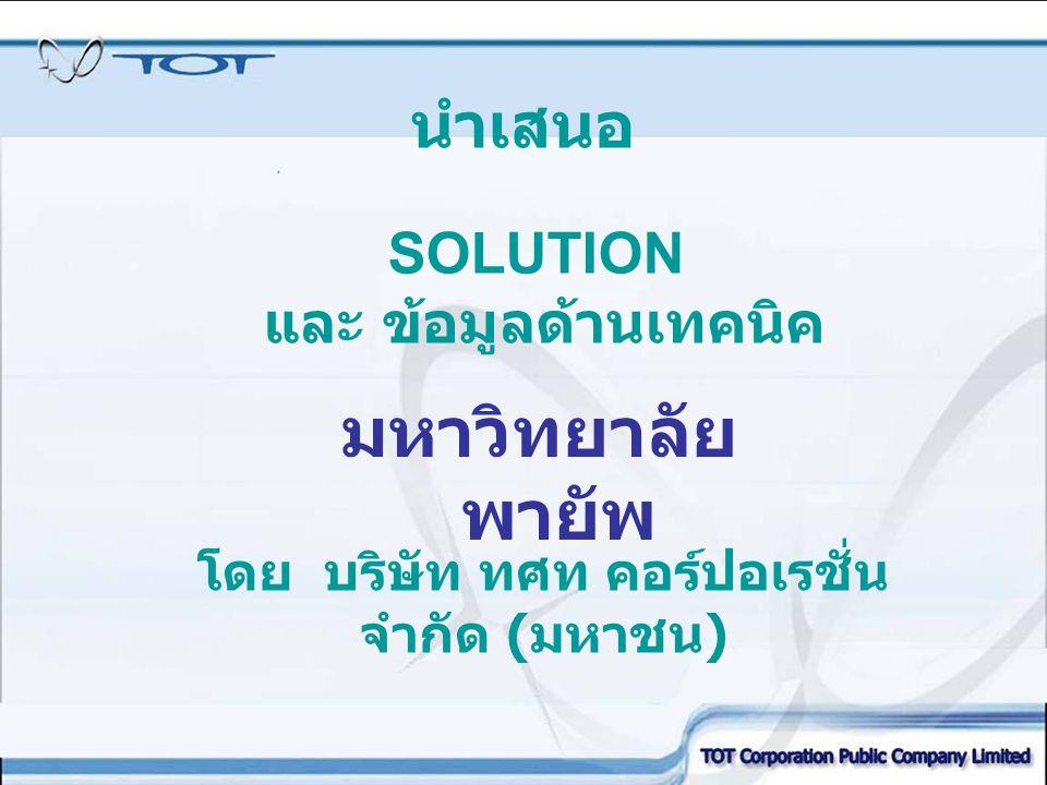 SOLUTION และ ข้อมูลด้านเทคนิค นำเสนอ มหาวิทยาลัย พายัพ โดย บริษัท ทศท คอร์ปอเรชั่น จำกัด ( มหาชน )