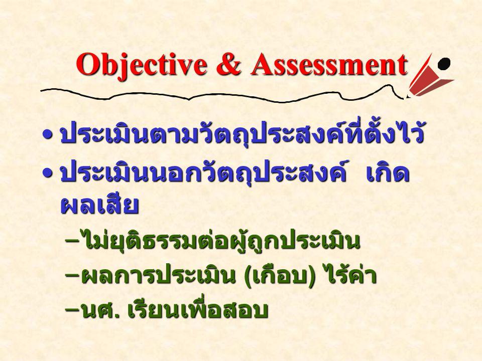 Objective & Assessment ประเมินตามวัตถุประสงค์ที่ตั้งไว้ ประเมินตามวัตถุประสงค์ที่ตั้งไว้ ประเมินนอกวัตถุประสงค์ เกิด ผลเสีย ประเมินนอกวัตถุประสงค์ เกิด ผลเสีย – ไม่ยุติธรรมต่อผู้ถูกประเมิน – ผลการประเมิน ( เกือบ ) ไร้ค่า – นศ.