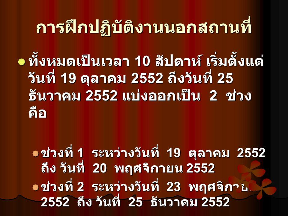 การฝึกปฏิบัติงานนอกสถานที่ ทั้งหมดเป็นเวลา 10 สัปดาห์ เริ่มตั้งแต่ วันที่ 19 ตุลาคม 2552 ถึงวันที่ 25 ธันวาคม 2552 แบ่งออกเป็น 2 ช่วง คือ ทั้งหมดเป็นเวลา 10 สัปดาห์ เริ่มตั้งแต่ วันที่ 19 ตุลาคม 2552 ถึงวันที่ 25 ธันวาคม 2552 แบ่งออกเป็น 2 ช่วง คือ ช่วงที่ 1 ระหว่างวันที่ 19 ตุลาคม 2552 ถึง วันที่ 20 พฤศจิกายน 2552 ช่วงที่ 1 ระหว่างวันที่ 19 ตุลาคม 2552 ถึง วันที่ 20 พฤศจิกายน 2552 ช่วงที่ 2 ระหว่างวันที่ 23 พฤศจิกายน 2552 ถึง วันที่ 25 ธันวาคม 2552 ช่วงที่ 2 ระหว่างวันที่ 23 พฤศจิกายน 2552 ถึง วันที่ 25 ธันวาคม 2552