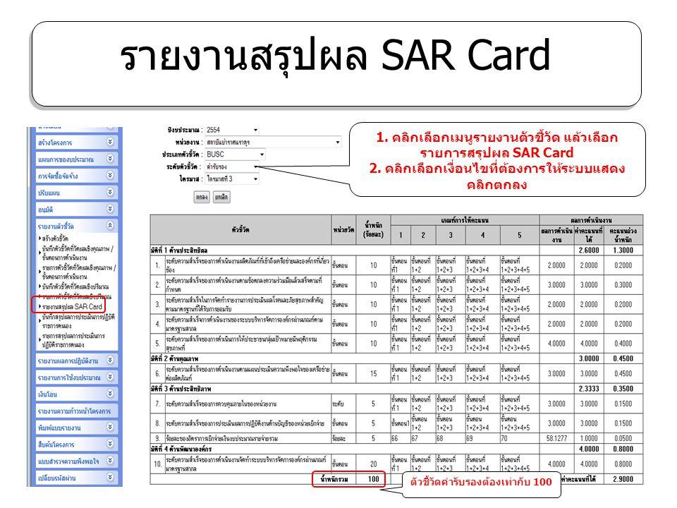 รายงานสรุปผล SAR Card 1. คลิกเลือกเมนูรายงานตัวชี้วัด แล้วเลือก รายการสรุปผล SAR Card 2. คลิกเลือกเงื่อนไขที่ต้องการให้ระบบแสดง คลิกตกลง ตัวชี้วัดคำรั