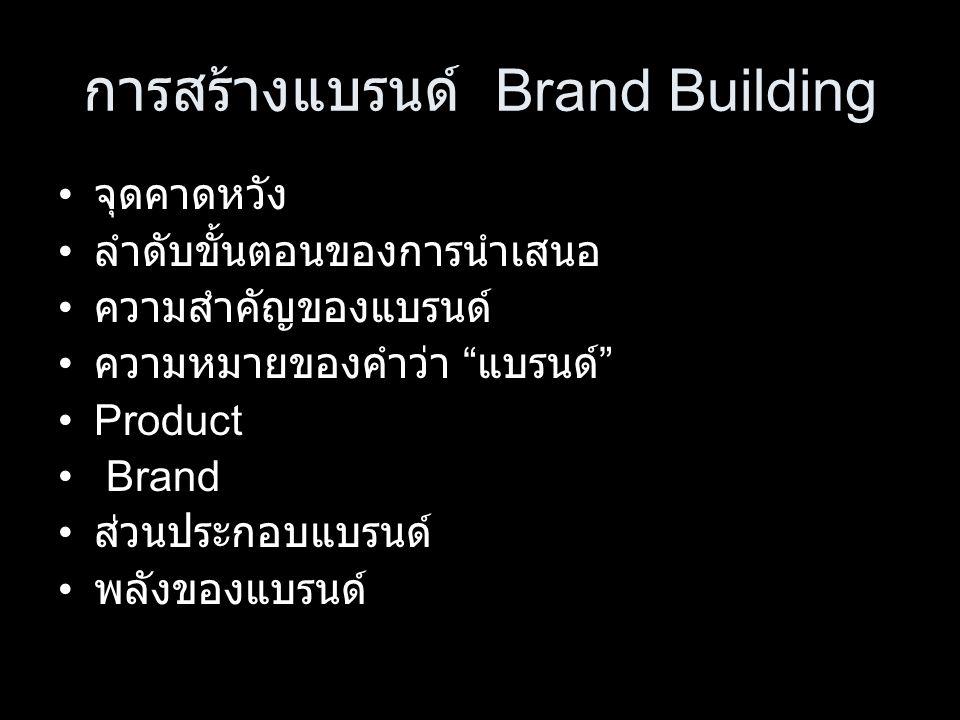 การสร้างแบรนด์ Brand Building จุดคาดหวัง ลำดับขั้นตอนของการนำเสนอ ความสำคัญของแบรนด์ ความหมายของคำว่า แบรนด์ Product Brand ส่วนประกอบแบรนด์ พลังของแบรนด์