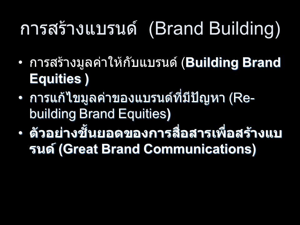 การสร้างแบรนด์ (Brand Building) Building Brand Equities ) การสร้างมูลค่าให้กับแบรนด์ (Building Brand Equities ) การแก้ไขมูลค่าของแบรนด์ที่มีปัญหา (Re- building Brand Equities) การแก้ไขมูลค่าของแบรนด์ที่มีปัญหา (Re- building Brand Equities) ตัวอย่างชั้นยอดของการสื่อสารเพื่อสร้างแบ รนด์ (Great Brand Communications) ตัวอย่างชั้นยอดของการสื่อสารเพื่อสร้างแบ รนด์ (Great Brand Communications)