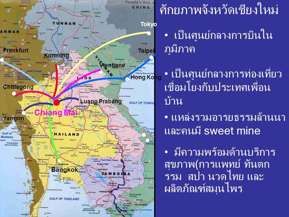 Tokyo Bangkok Taipei Yangon Kunming Frankfurt Chittagong Chiang Mai Luang Prabang Hong Kong Vientiane ศักยภาพจังหวัดเชียงใหม่ เป็นศูนย์กลางการบินใน ภู
