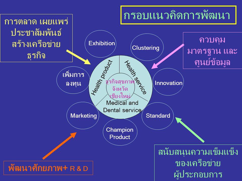 ภาพรวมระบบการพัฒนาธุรกิจสุขภาพ Medical Service Health Service Health Products HerbSPA มาตรฐาน อัตลักษณ์ Lanna SPA Product SPA/Health Equipment บุคลากร นวดไทย Health & Medical Hub อาหาร เสริม มาตรฐาน สมาคม TLSPA+ มช.