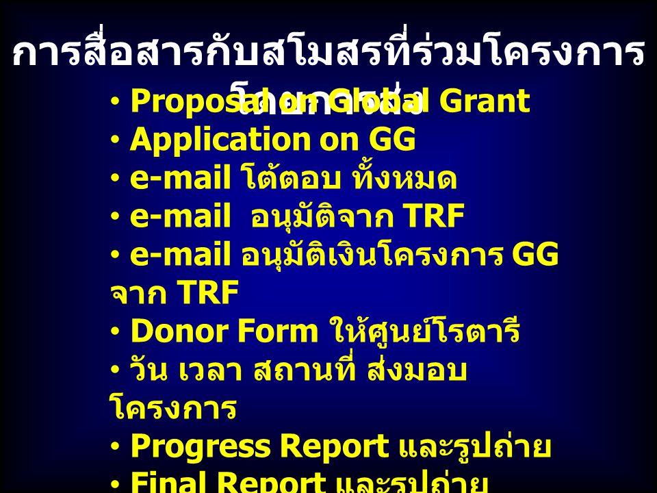 การสื่อสารกับสโมสรที่ร่วมโครงการ โดยการส่ง Proposal on Global Grant Application on GG e-mail โต้ตอบ ทั้งหมด e-mail อนุมัติจาก TRF e-mail อนุมัติเงินโครงการ GG จาก TRF Donor Form ให้ศูนย์โรตารี วัน เวลา สถานที่ ส่งมอบ โครงการ Progress Report และรูปถ่าย Final Report และรูปถ่าย รายงานการเงิน ใบเสร็จ