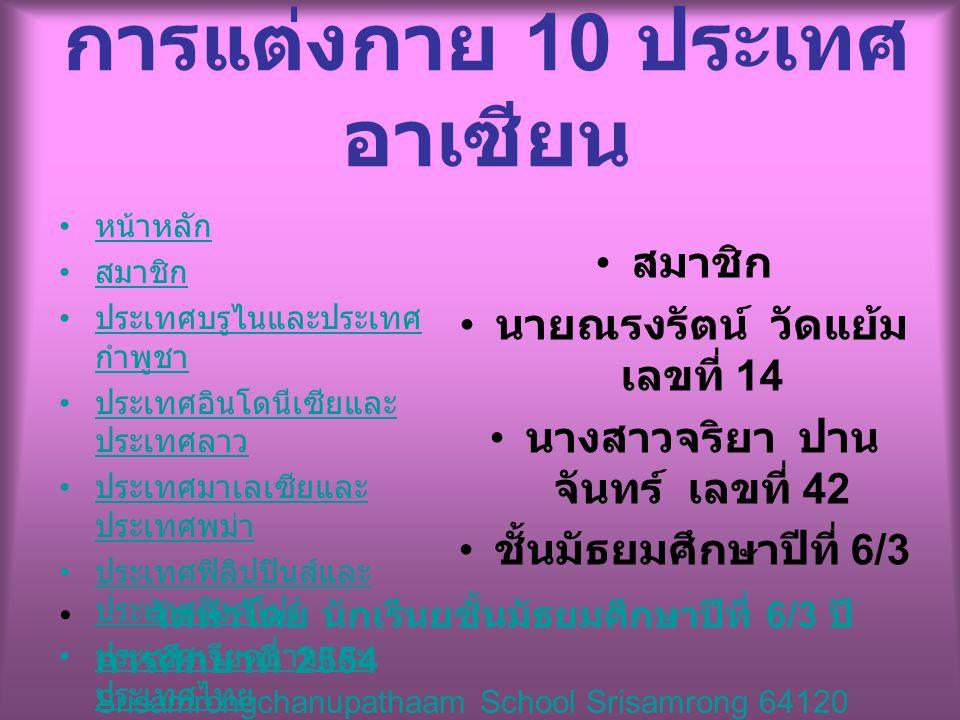 จัดทำโดย นักเรีนยชั้นมัธยมศึกษาปีที่ 6/3 ปี การศึกษาที่ 2554 Srisamrongchanupathaam School Srisamrong 64120 หน้าหลัก สมาชิก ประเทศบรูไนและประเทศ กำพูชา ประเทศบรูไนและประเทศ กำพูชา ประเทศอินโดนีเซียและ ประเทศลาว ประเทศอินโดนีเซียและ ประเทศลาว ประเทศมาเลเซียและ ประเทศพม่า ประเทศมาเลเซียและ ประเทศพม่า ประเทศฟิลิปปินส์และ ประเทศสิงคโปร์ ประเทศฟิลิปปินส์และ ประเทศสิงคโปร์ ประเทศเวียดนามและ ประเทศไทย ประเทศเวียดนามและ ประเทศไทย แหล่งข้อมุล การแต่งกาย 10 ประเทศ อาเซียน