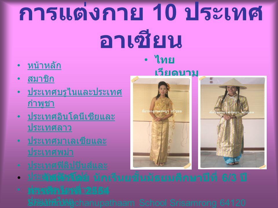 จัดทำโดย นักเรีนยชั้นมัธยมศึกษาปีที่ 6/3 ปี การศึกษาที่ 2554 Srisamrongchanupathaam School Srisamrong 64120 หน้าหลัก สมาชิก ประเทศบรูไนและประเทศ กำพูช