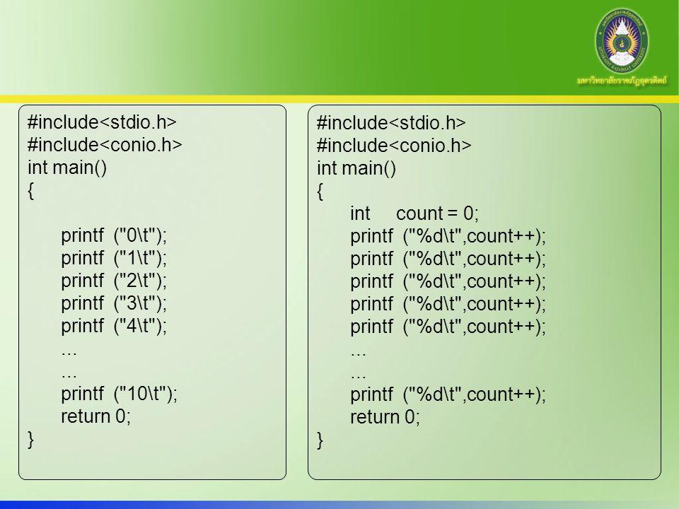 15 โปรแกรม หาผลรวม 1 ถึง 100 | do- while int main() { int count=1,sum=0; do { sum = sum + count; count++; } while(count<=100); printf ( Summation of 1 to 100 = %d ,sum); return 0; }