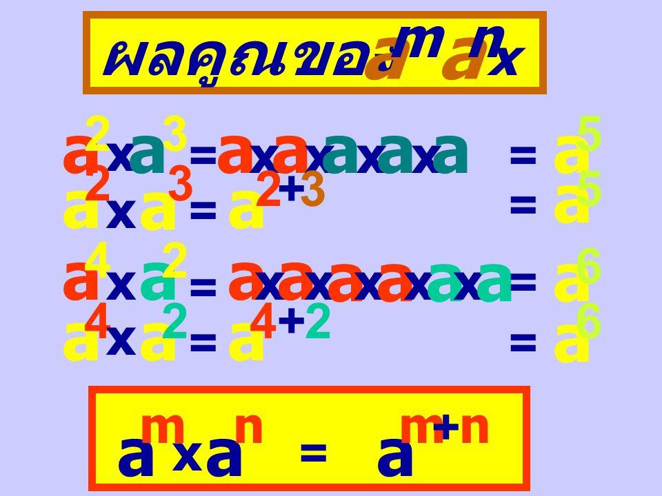 สรุปผลการคูณของจำนวนต่อไปนี้ a x a x a x … x a ( a ค ูณกัน n ต ัว ) = a n