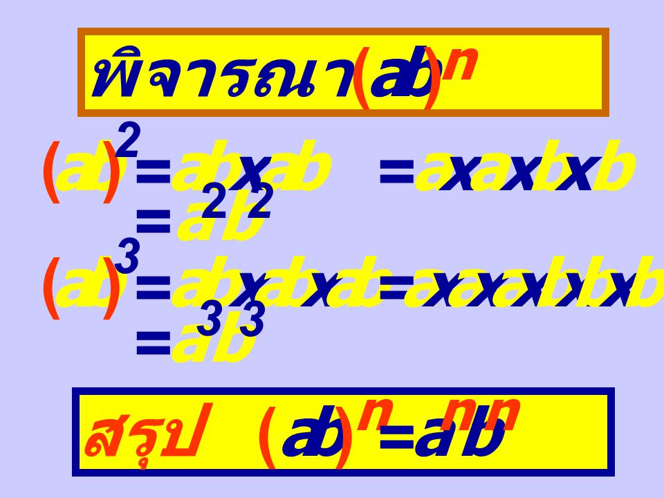 พิจารณา (a ) m n ()a 3 2 = a 3 x a 3 = a 3 + 3 = a 6 (a 3 ) 2 = a 3 x 2 = a 6 (a 5 ) 3 = a 5 x a 5 x a 5 = a 5 + 5 + 5 = a 1 5 (a 5 ) 3 = a 5 x 3 = a 1 5 สรุป ( a ) m n = a m x n