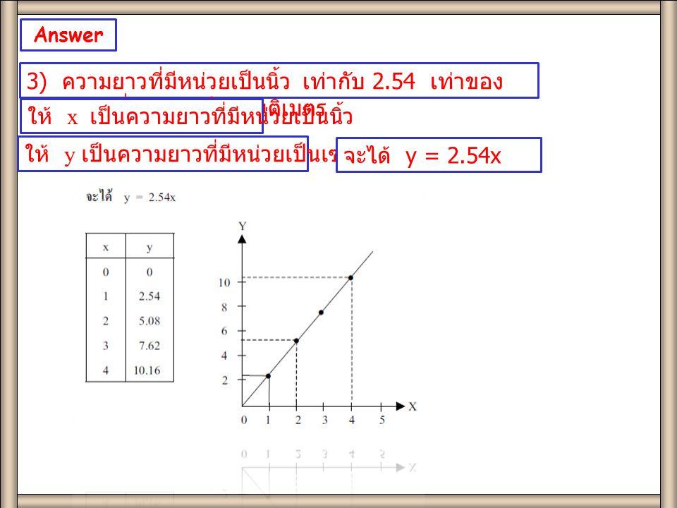 Answer Page 139 3) ความยาวที่มีหน่วยเป็นนิ้ว เท่ากับ 2.54 เท่าของ ความยาวที่มีหน่วยเป็นเซนติเมตร ให้ x เป็นความยาวที่มีหน่วยเป็นนิ้ว ให้ y เป็นความยาวที่มีหน่วยเป็นเซนติเมตร จะได้ y = 2.54x