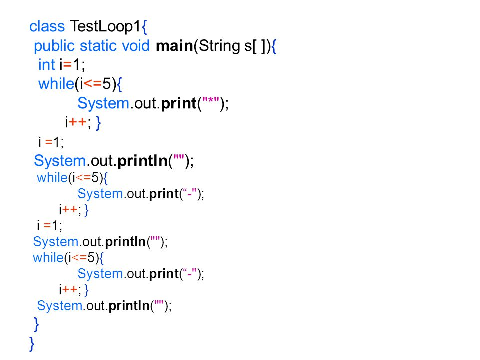 class TestLoop1{ public static void main(String s[ ]){ int i=1; while(i<=5){ System.out.print(