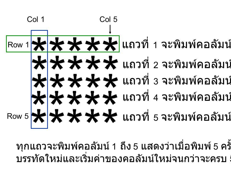 ให้ i คือ แถวและ j คือหลัก int i=1, j=1 while(i<=5) while(j<=5) print * j=j+1 end while i=i+1 j=1 new line end while i<=5 j<=5 j=j+1 * i=i+1 j=1 \n ture false