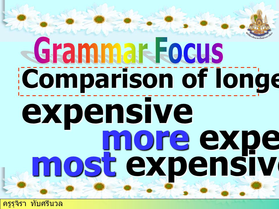 Comparison of longer adjectives expensive more expensive most expensive