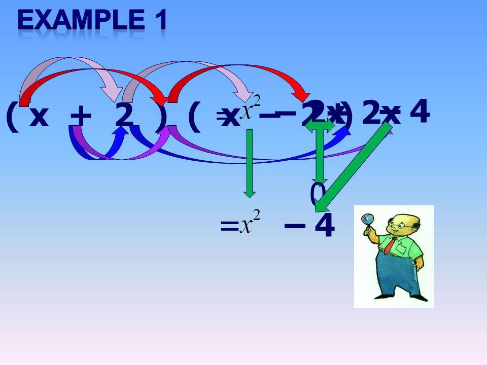 ( x + 2 ) ( x – 2 ) = – 2x+ 2x – 4 = 0