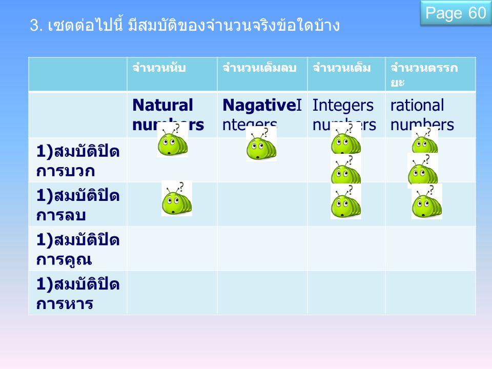 3. เซตต่อไปนี้ มีสมบัติของจำนวนจริงข้อใดบ้าง จำนวนนับจำนวนเต็มลบจำนวนเต็มจำนวนตรรก ยะ Natural numbers NagativeI ntegers Integers numbers rational numb