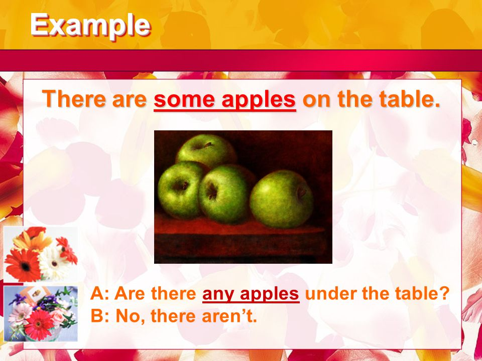 ExampleExample There are some apples on the table. A: Are there any apples under the table? B: No, there aren't.