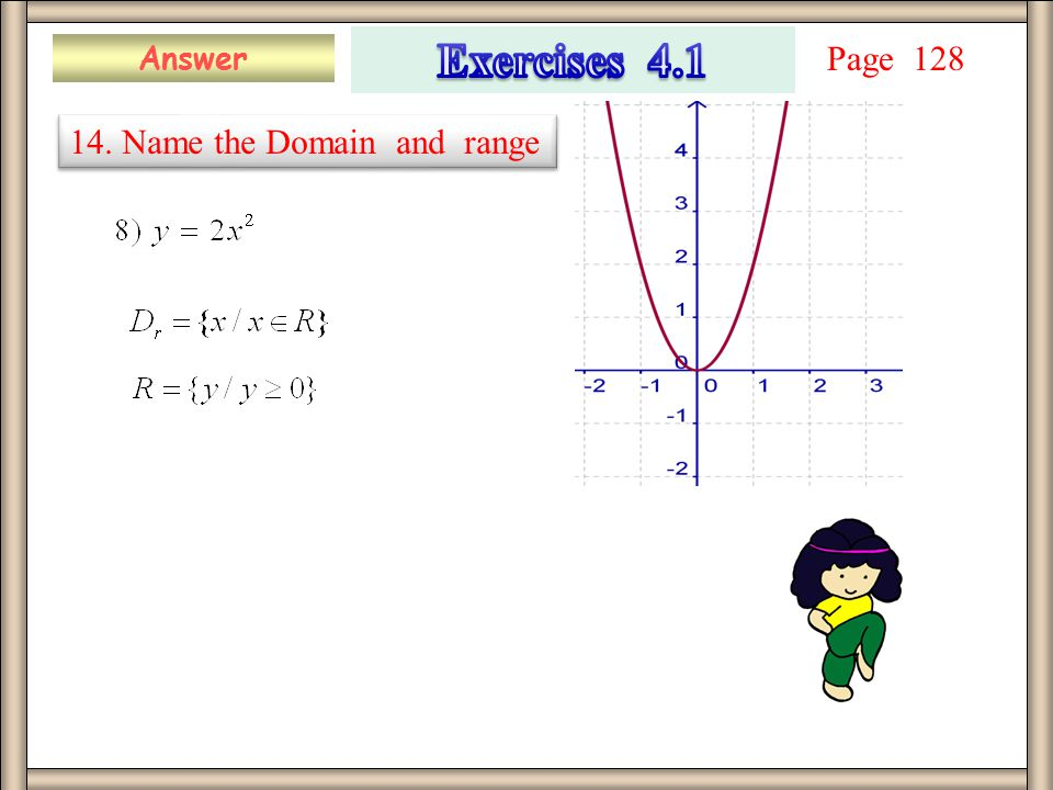 Answer 14. Name the Domain and range Page 128