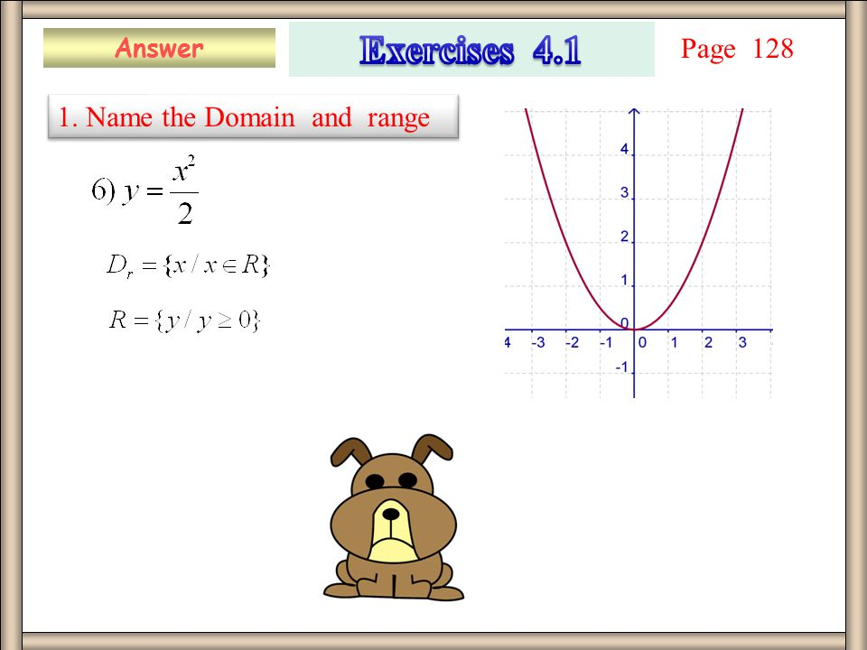 Answer 1. Name the Domain and range Page 128