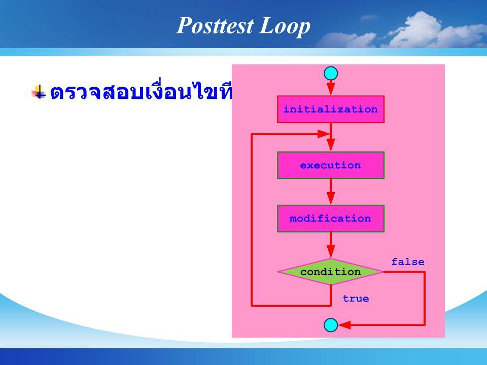 Posttest Loop ตรวจสอบเงื่อนไขทีหลัง