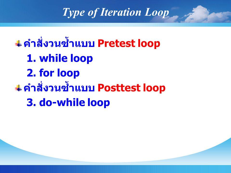 Type of Iteration Loop คำสั่งวนซ้ำแบบ Pretest loop 1.