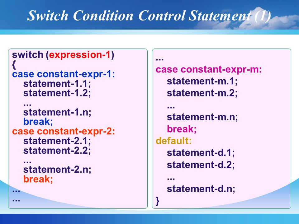 Condition Statement 2-1; Statement 2-2; ….Statement 2-n; Statement 1-1; Statement 1-2; ….