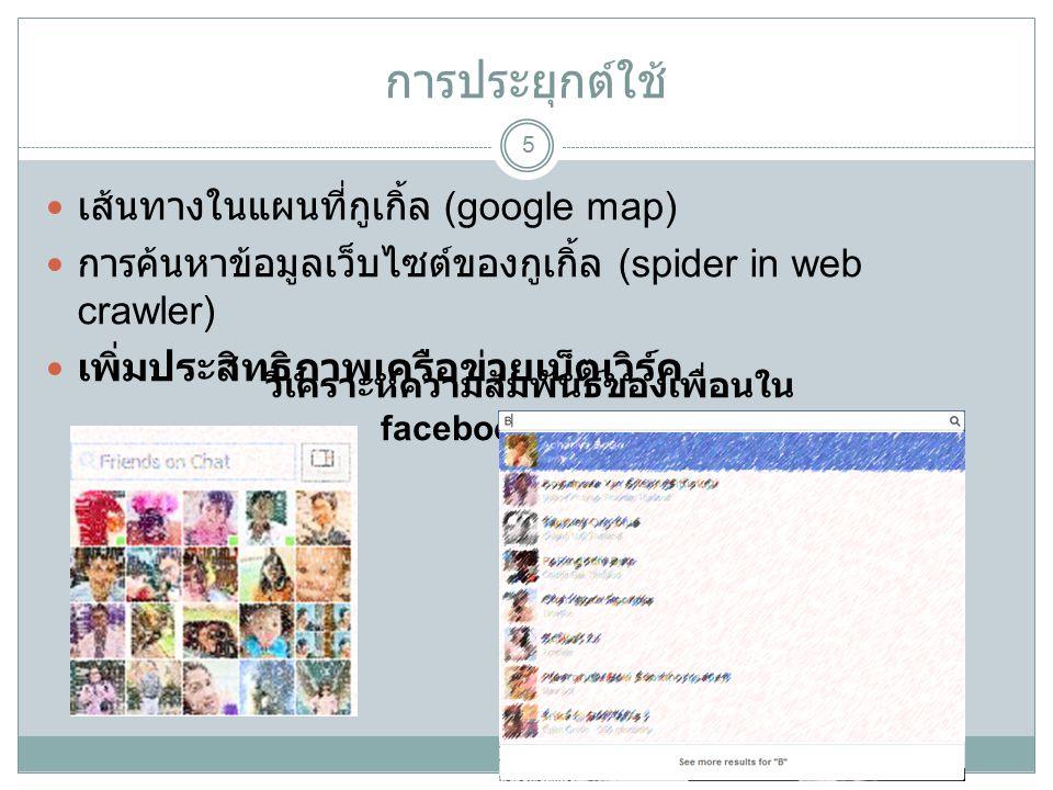 การประยุกต์ใช้ 5 เส้นทางในแผนที่กูเกิ้ล (google map) การค้นหาข้อมูลเว็บไซต์ของกูเกิ้ล (spider in web crawler) เพิ่มประสิทธิภาพเครือข่ายเน็ตเวิร์ค วิเคราะห์ความสัมพันธ์ของเพื่อนใน facebook timeline