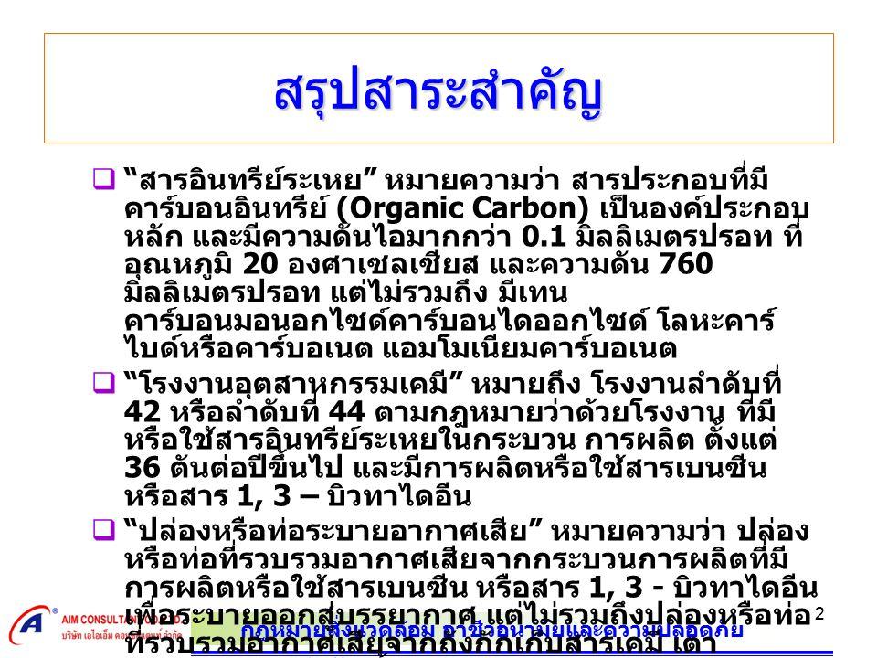 """กฎหมายสิ่งแวดล้อม อาชีวอนามัยและความปลอดภัย 2 สรุปสาระสำคัญ  """" สารอินทรีย์ระเหย """" หมายความว่า สารประกอบที่มี คาร์บอนอินทรีย์ (Organic Carbon) เป็นองค"""