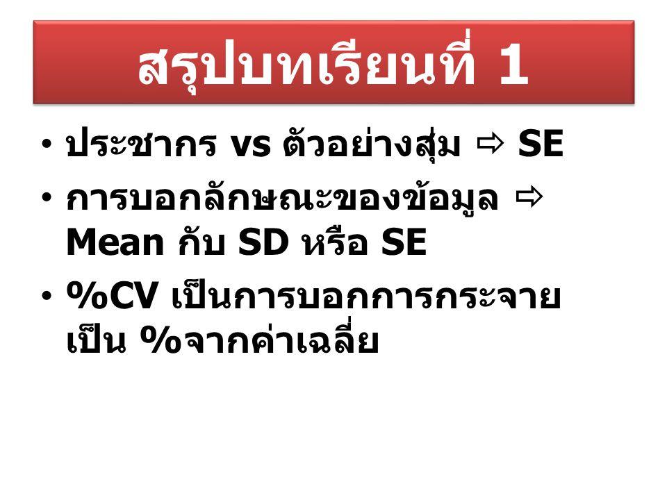 สรุปบทเรียนที่ 1 ประชากร vs ตัวอย่างสุ่ม  SE การบอกลักษณะของข้อมูล  Mean กับ SD หรือ SE %CV เป็นการบอกการกระจาย เป็น % จากค่าเฉลี่ย