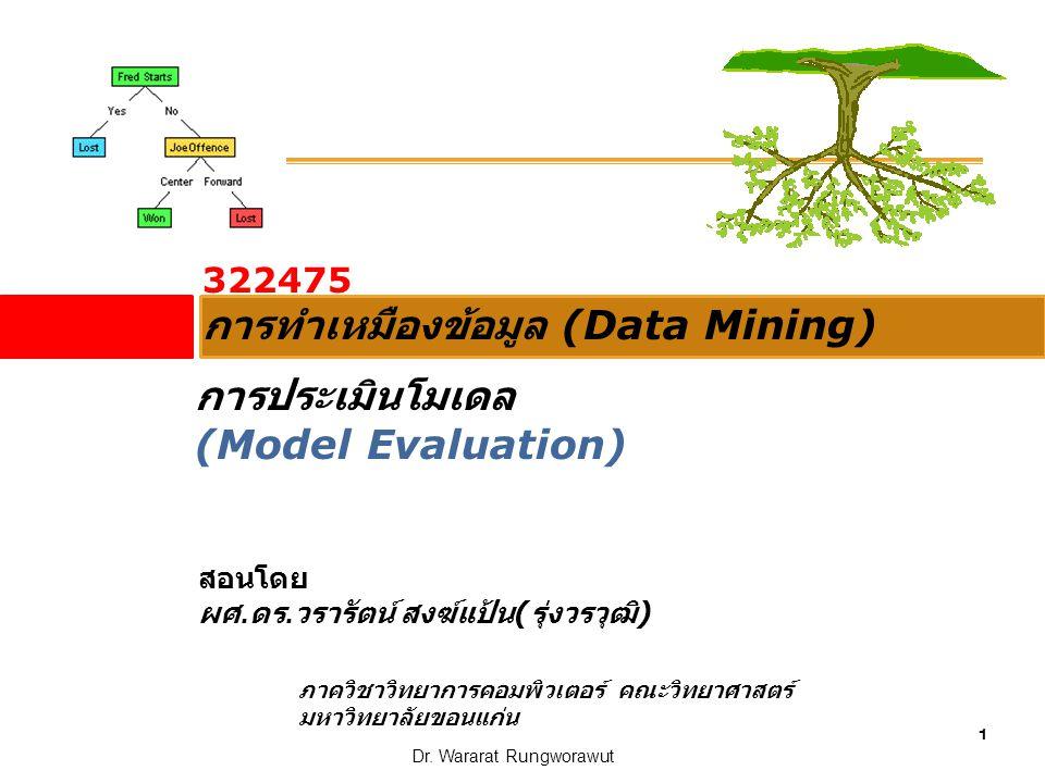 1 Dr. Wararat Rungworawut 322475 การทำเหมืองข้อมูล (Data Mining) สอนโดย ผศ. ดร. วรารัตน์ สงฆ์แป้น ( รุ่งวรวุฒิ ) ภาควิชาวิทยาการคอมพิวเตอร์ คณะวิทยาศา