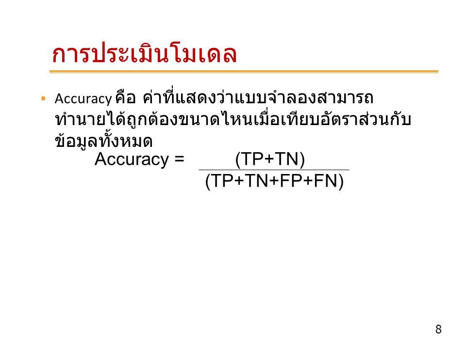 8 Accuracy = (TP+TN) (TP+TN+FP+FN)  Accuracy คือ ค่าที่แสดงว่าแบบจำลองสามารถ ทำนายได้ถูกต้องขนาดไหนเมื่อเทียบอัตราส่วนกับ ข้อมูลทั้งหมด